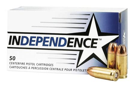 INDEPENDENCE 9mm Luger 115 gr JHP Brass Cased 50/Box