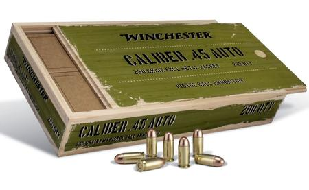 Winchester 45 Auto 230 gr FMJ Service-Grade Ammo 200 Rounds in Wooden Box