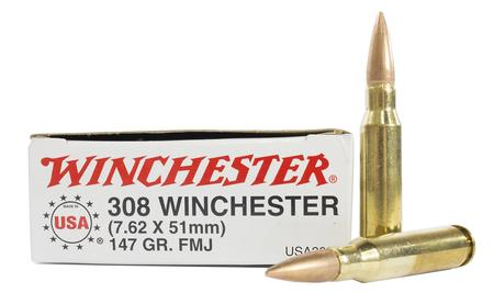 Winchester 308 Win 147 gr FMJ Boat-Tail Police Trade Ammo 20/Box