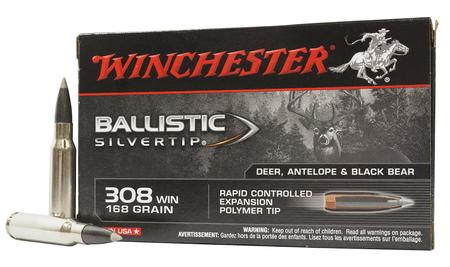 WINCHESTER AMMO 308 Win 168 gr Polymer Tip Ballistic Silvertip Police Trade 20/Box