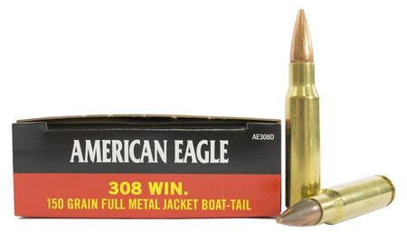 Federal 308 Win 150 gr FMJ Boat-Tail American Eagle Police Trade 20/Box