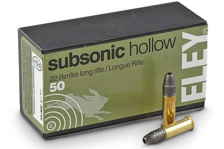 Eley 22LR 40 gr HP Subsonic Hollow Point 50/Box
