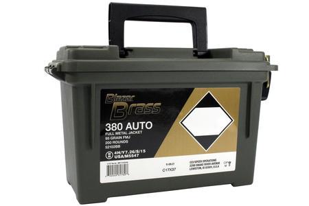 CCI 380 Auto 95 gr FMJ Round Nose Blazer Brass 200 Round Ammo Can