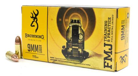 Browning Ammunition 9mm Luger 115 gr FMJ Training and Practice 50/Box