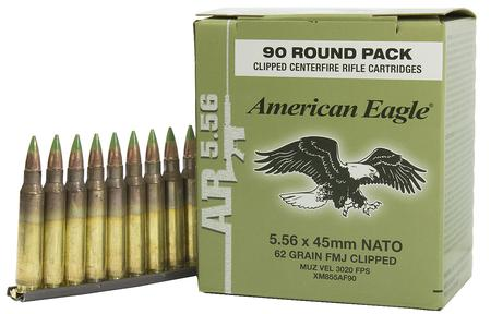 XM855 5.56MM 62 GR FMJ-BT BALL 90 ROUNDS