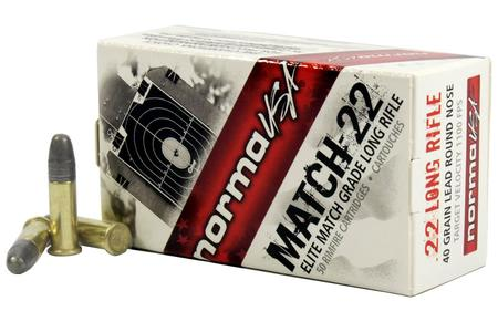 NORMA USA 22LR 40 gr Lead Round Nose Match-22 50/Box