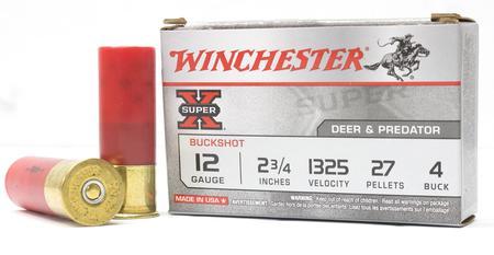 WINCHESTER AMMO 12 Gauge 2 3/4 in 27 Pellet #4 Super-X Buckshot Police Trade Ammo 5/Box