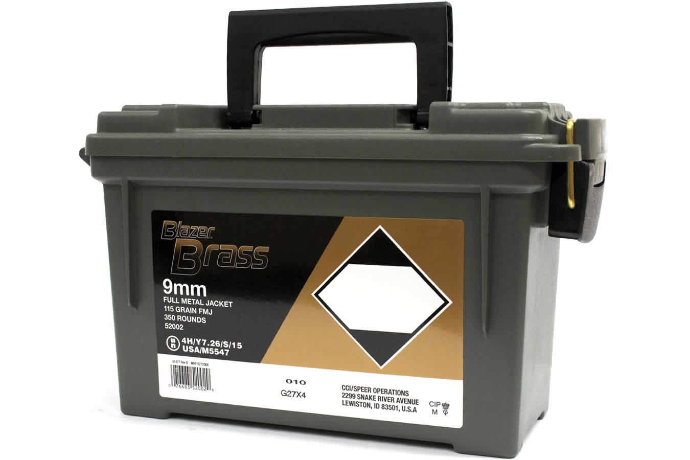 cci 9mm luger 115 gr fmj blazer brass 350 round ammo can