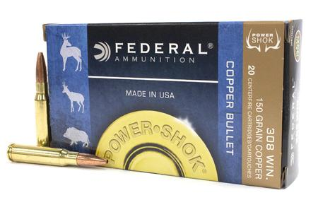 Federal 308 Win 150 gr Copper Hollow Point Power-Shok 20/Box