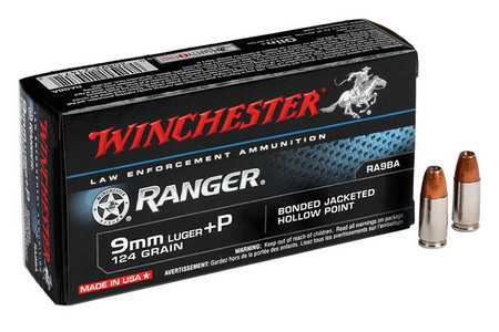 WINCHESTER AMMO 9MM LUGER +P 124GR. JHP BONDED RANGER