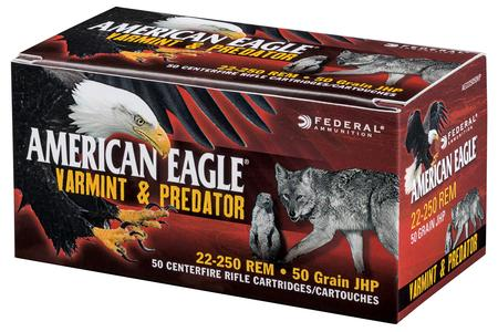 Federal 22-250 Rem 50 gr JHP American Eagle Varmint and Predator 50/Box