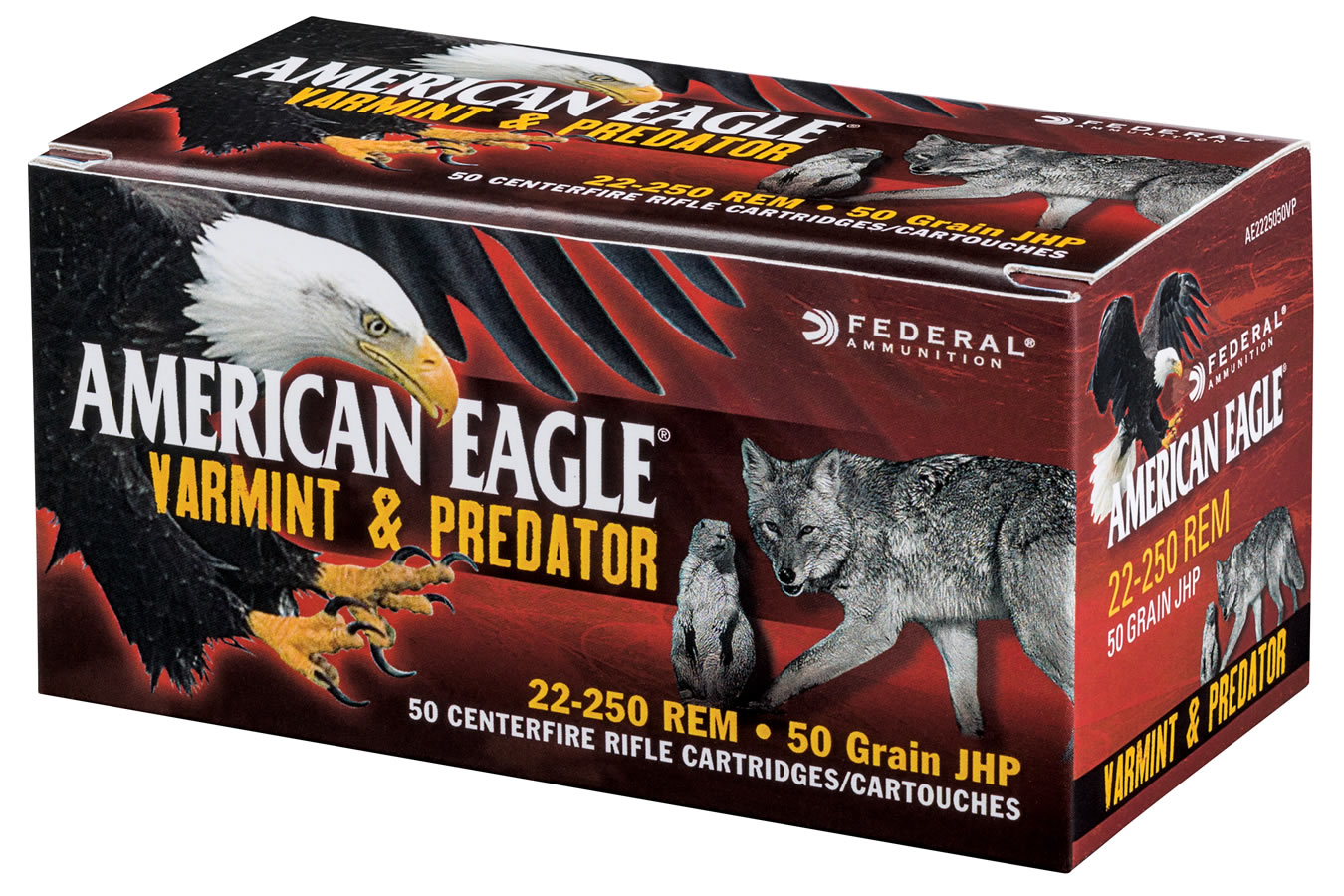 federal 22 250 rem 50 gr jhp american eagle varmint and predator 50