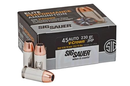 SIG SAUER 45 ACP 230 gr JHP Elite V-Crown 20/Box