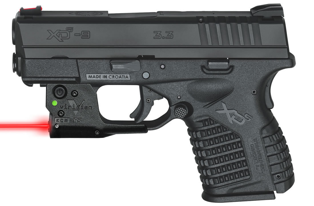 XDS 3.3 9MM BLACK W/ VIRIDIAN RED LASER