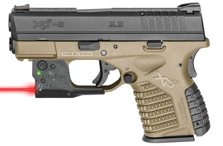 Springfield XDS 3 3 Single Stack 9mm Flat Dark Earth Essentials Package  with Viridian R5 Red Laser