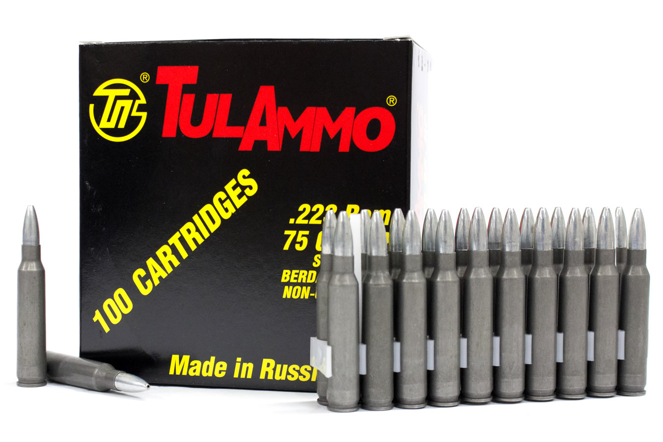 TULA AMMO 223 REM 75GR HP STEEL CASED 100/BX
