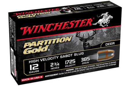 WINCHESTER AMMO 12 Ga 2-3/4 in 385 gr Sabot Partition Gold 5/Box