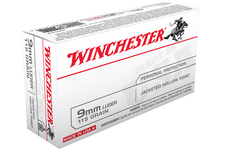 Winchester 9mm Luger 115 gr JHP Jacketed Hollow Point USA 50/Box