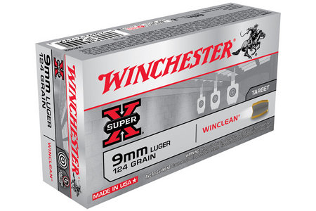 WINCHESTER AMMO 9mm Luger 124 gr Winclean Brass 50/Box