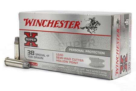 Winchester 38 Special +P 158 gr Lead Semi-Wad Cutter HP Super X 50/Box