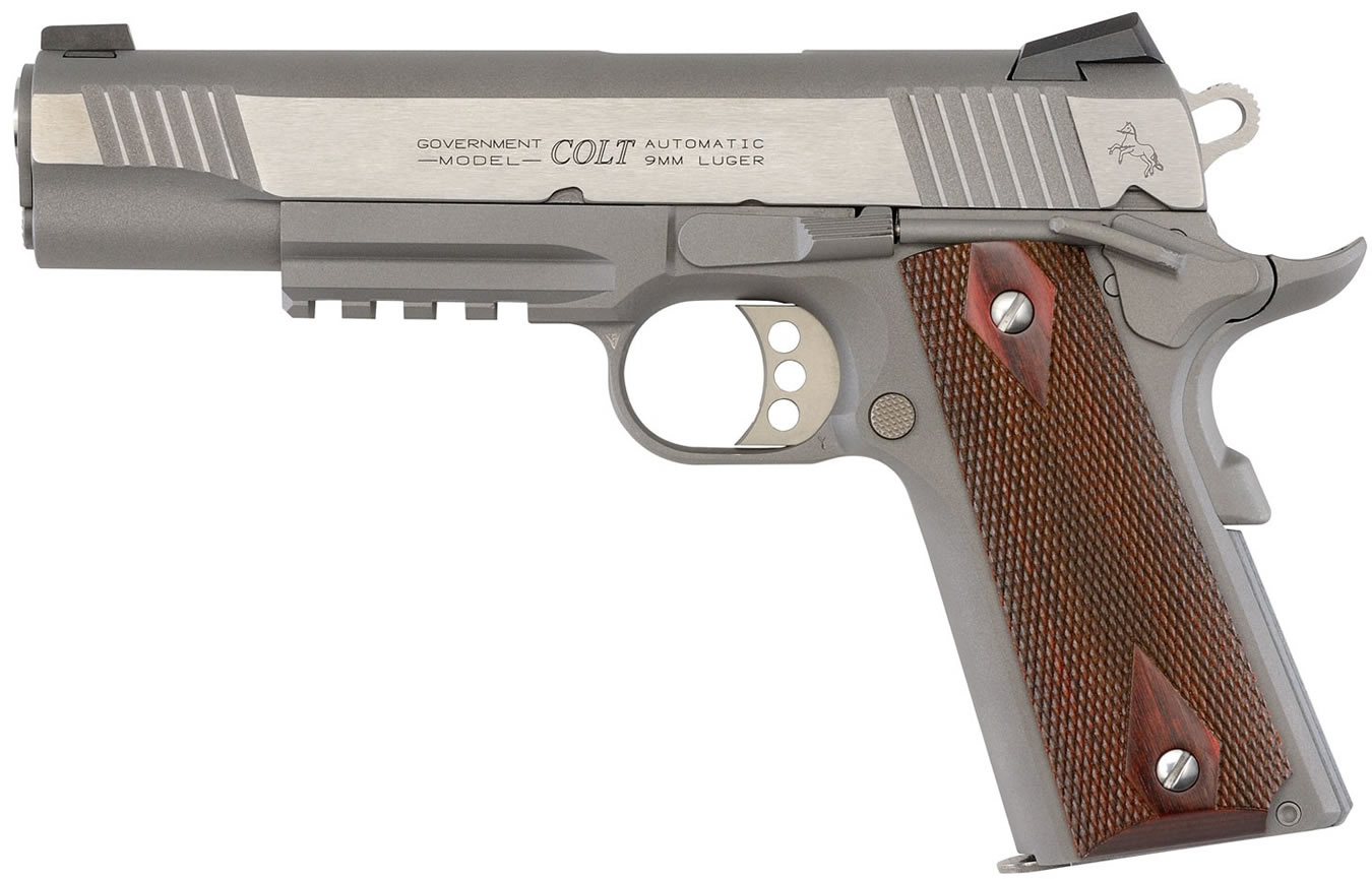 colt 1911 stainless 9mm rail gun with diamond checkered rosewood