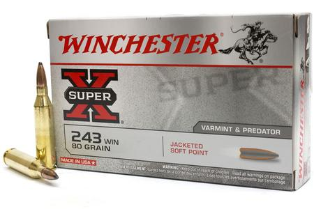 WINCHESTER AMMO 243 Win 80 gr Jacketed Soft Point Super-X 20/Box