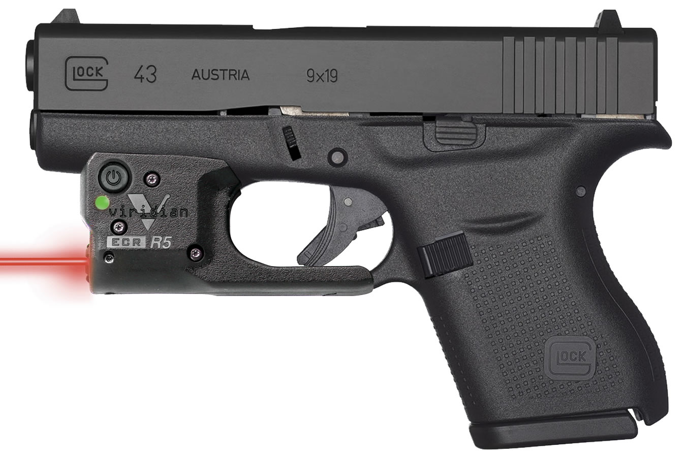 glock 43 9mm single stack pistol with viridian r5 red