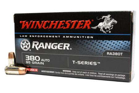 WINCHESTER AMMO 380 Auto 95 gr JHP Ranger T-Series Police Trade Ammo 50/Box