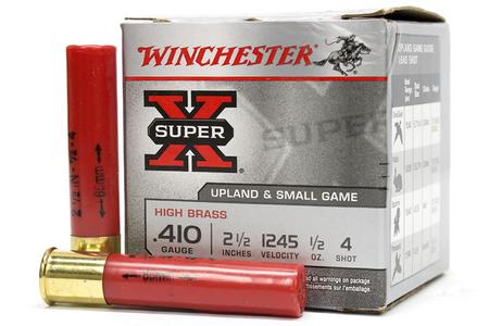 WINCHESTER AMMO 410 Ga 2-1/2 in 1/2 oz #4 Shot Super X 25/Box