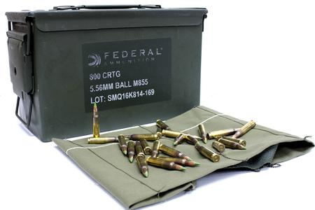 Federal 5.56mm 62 gr M855 Lake City Green-Tip 800 Rounds in Ammo Can