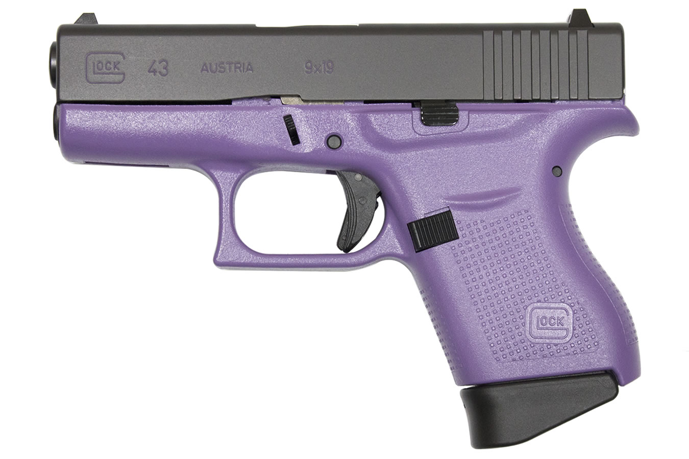 Glock 43 9mm Single-Stack Pistol with Lilac Purple Frame ...