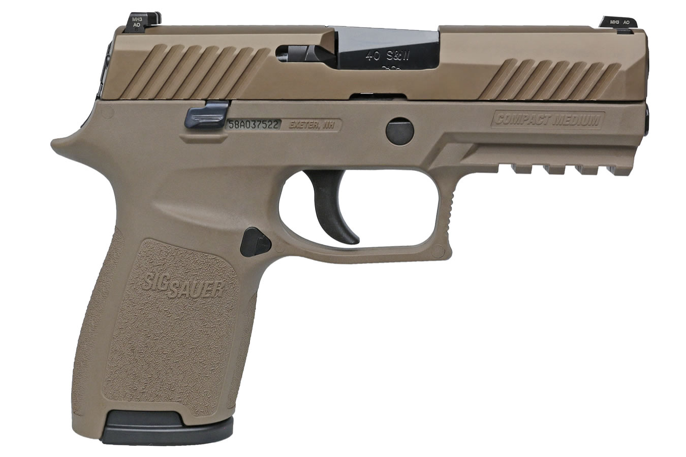 P320 Compact 40 S&W Flat Dark Earth (FDE) Striker-Fired Pistol with Night  Sights