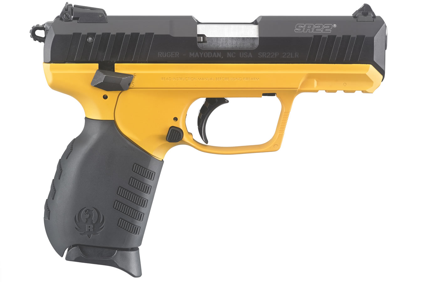 Ruger SR22 22LR Rimfire Pistol with Contractor Yellow Grip Frame ...