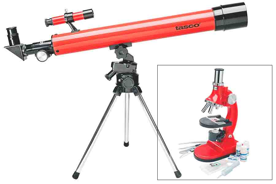 50X50 RED REFRACTOR W 900X MICROSCOPE