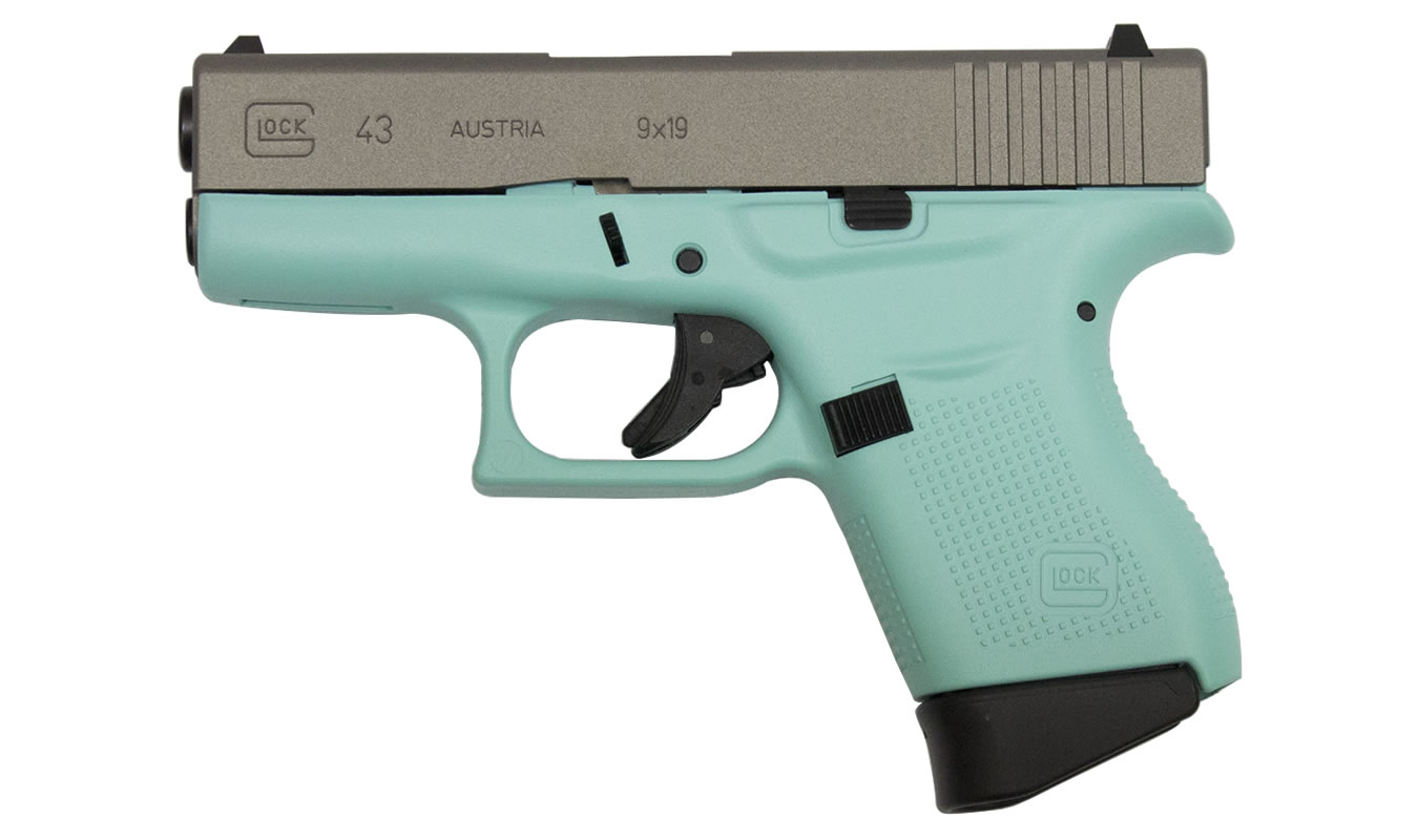 Glock 43 9mm Eggshell Blue Single Stack Pistol With Silver Slide
