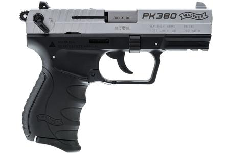 WALTHER PK380 NICKEL 380 ACP WITH BLACK FRAME