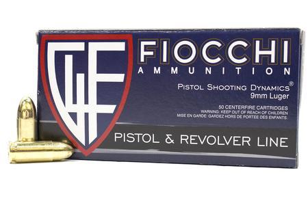 FIOCCHI 9mm Luger 115 gr FMJ Ammo 50/Box