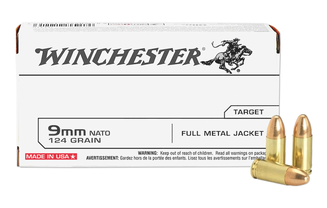 WINCHESTER AMMO 9MM LUGER 124 GR. FULL METAL JACKET