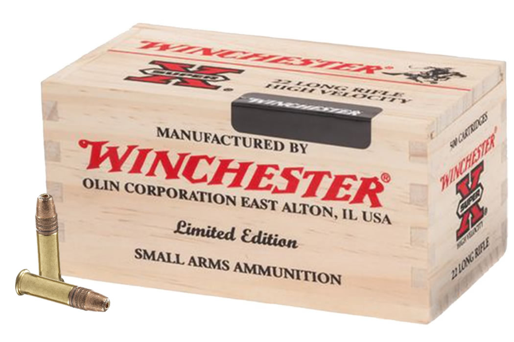 winchester 22lr 36 gr copper plated hp 500 rounds in wooden box