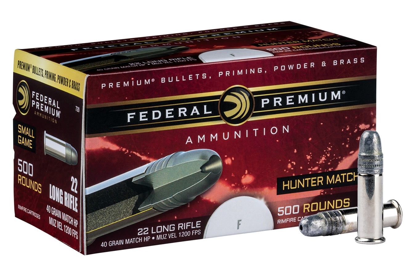 federal 22lr 40gr hollow point hunter match 500 round brick
