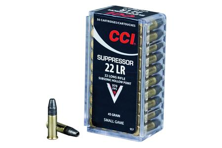 CCI AMMUNITION 22LR 45 gr Hollow Point Suppressor 50/box