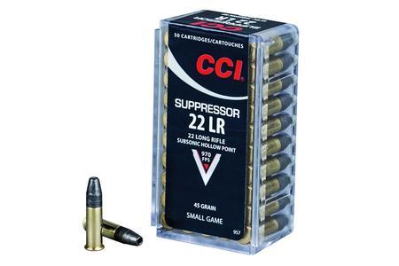 CCI 22LR 45 gr Hollow Point Suppressor 50/box