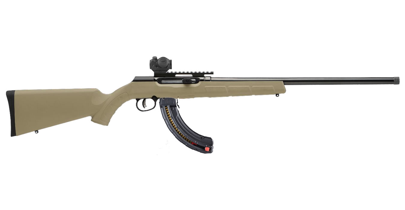 A22 22LR Flat Dark Earth (FDE) Semi-Auto Rifle wit Bushnell TRS-25 Red Dot  and 25-Round Magazine