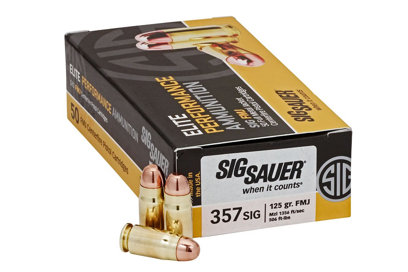 AMMO 357SIG 125GR ELITE BALL FMJ 50/BOX