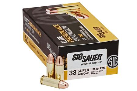 SIG SAUER 38 Super + P 125 gr Elite Ball FMJ 50/Box
