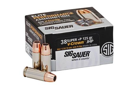 SIG SAUER 38 Super + P 125 gr Elite V-Crown JHP 20/Box