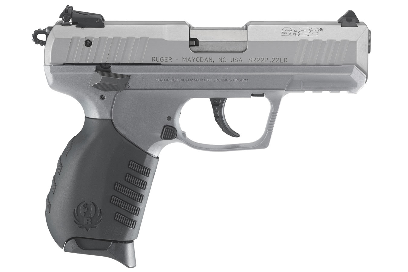 ruger sr22 22lr rimfire pistol with savage stainless cerakote finish
