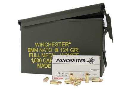 Winchester 9mm NATO 124 gr FMJ 1000 Round Ammo Can