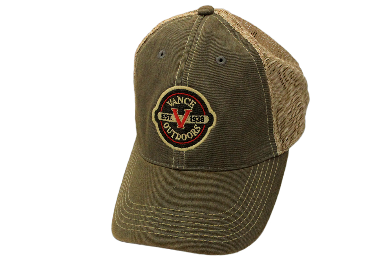 Vance Outdoors Apparel Olive Trucker Hat with Logo  9d955a6342e