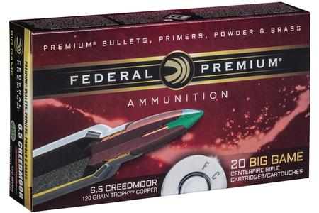 Federal 6.5 Creedmoor 120 gr Trophy Copper Vital Shok 20/Box